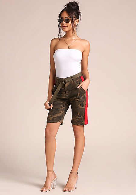 Camouflage Belted Side Stripe Bermuda Shorts
