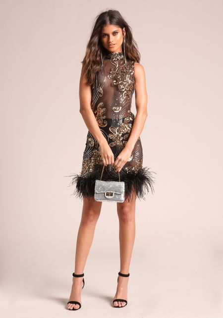 Black Sequin Mesh Faux Feather Bodycon Dress