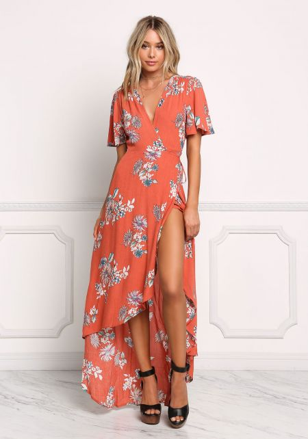 Rust Crepe Floral Wrap Maxi Dress