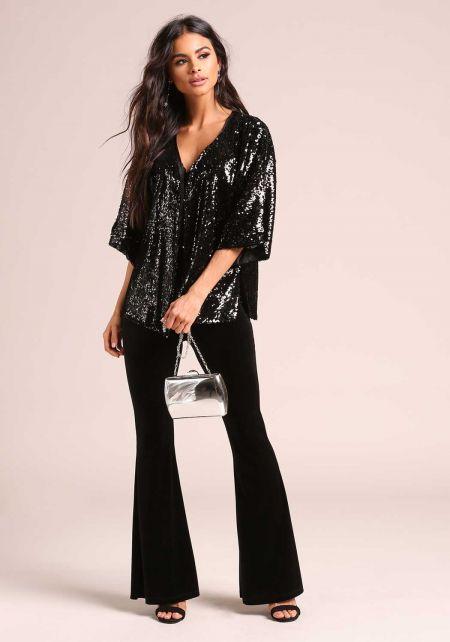 Black Sequin Side Slit Kimono