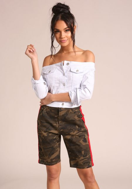 White Off Shoulder Cropped Denim Jacket