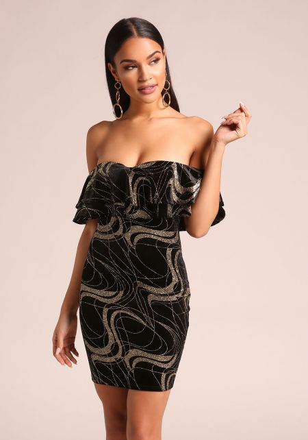 Gold and Black Velvet Sparkle Off Shoulder Bodycon