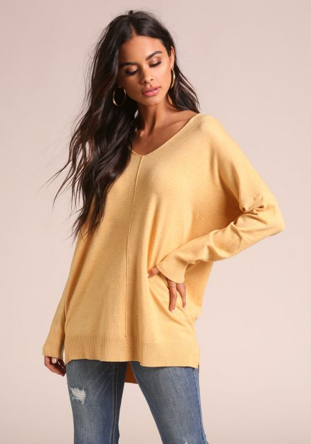 Yellow Soft Knit Sweater Top