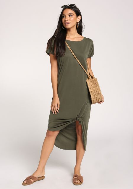 Olive Knotted Shift Midi Dress