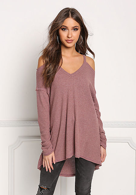 Mauve Cold Shoulder Hi-Lo Knit Top