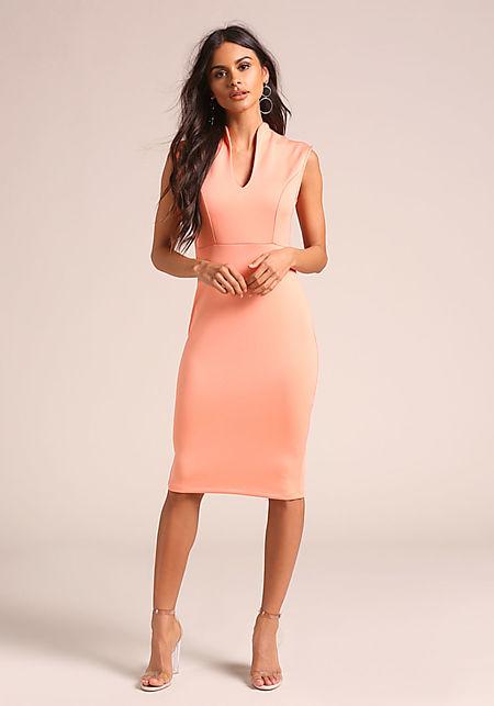 Peach Sleek V Neck Bodycon Dress