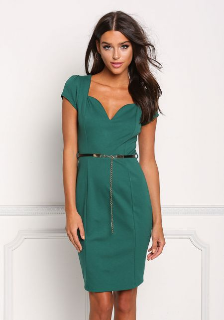 Hunter Green Plunge Cut Cinched Bodycon Dress