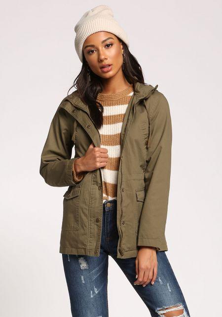 Olive Plaid Hooded Utility Jacket