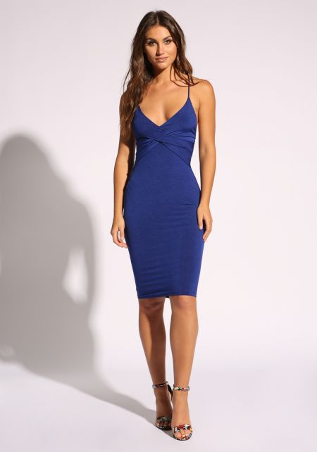 Royal Blue Low Back Cross Strap Dress