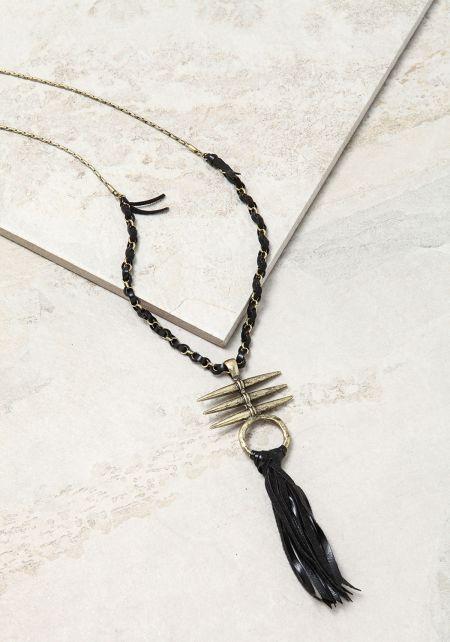 Gold Leatherette Fringe Delicate Necklace