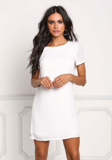 Off White Basic Shift Dress