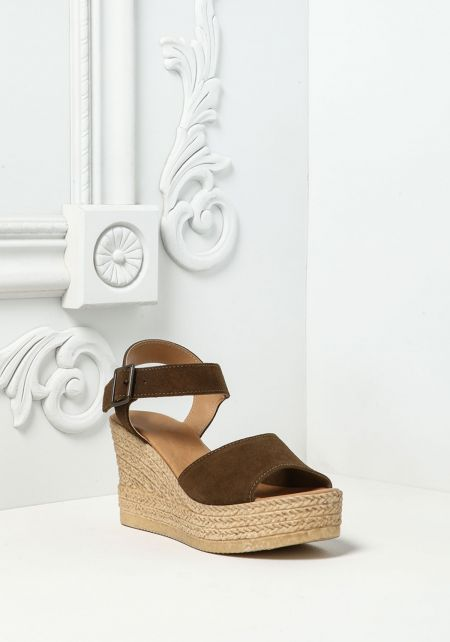 Olive Faux Suede Braided Wedges