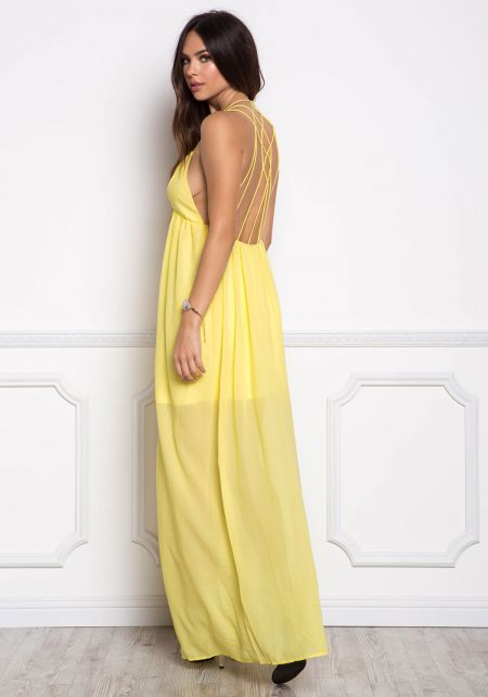 Yellow Caged Cut Out Maxi Dress