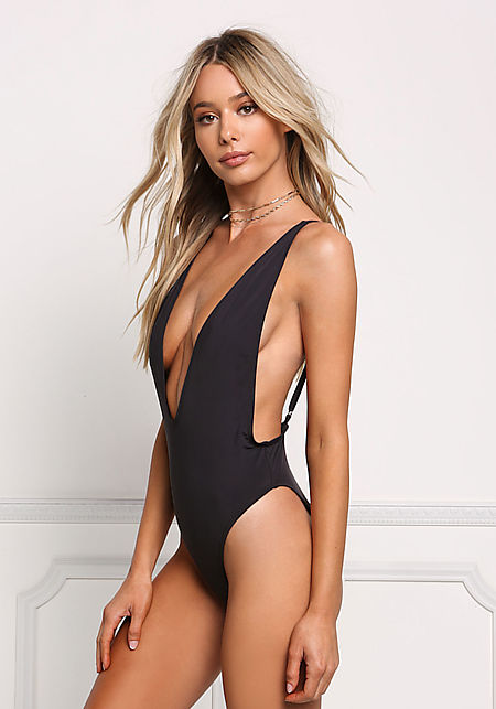 Black Plunge Side Scoop Swimsuit Monokini