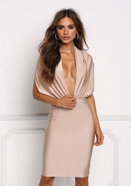 Champagne Plunge Open Back Bodycon Dress
