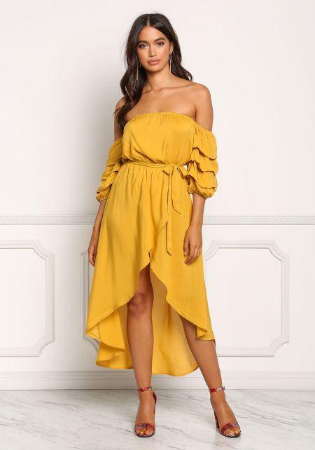 Mustard Off Shoulder Ruched Hi-Lo Maxi Dress