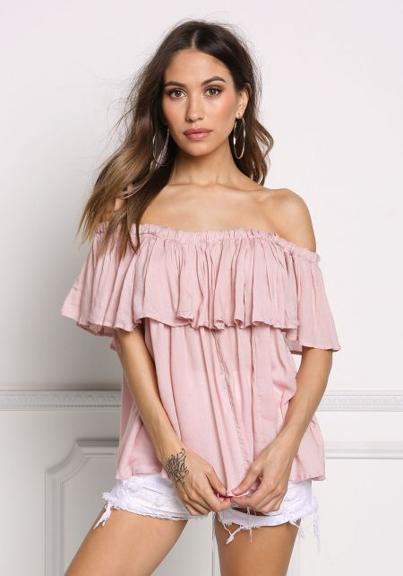 Mauve Off Shoulder Tassel Strap Blouse