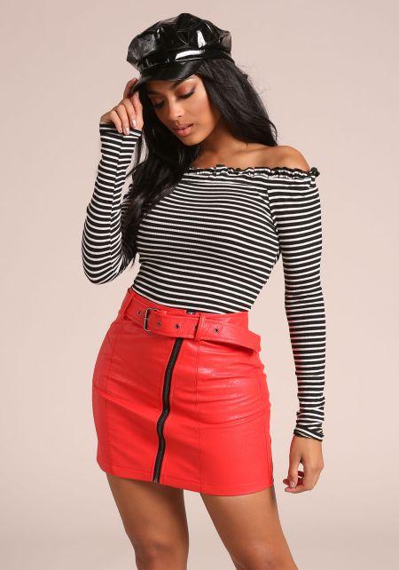 Black Stripe Off Shoulder Ribbed Knit Top