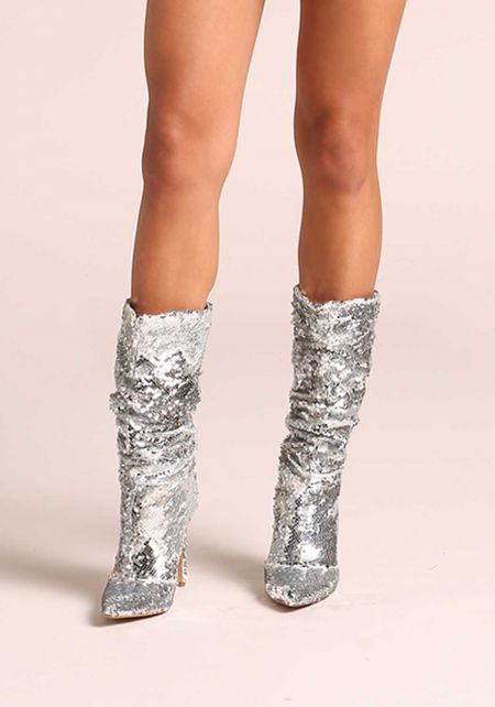 Silver Sequin Mid Calf Pointed Toe Boots