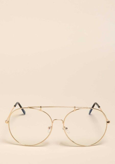 Gold Top Bar Clear Round Glasses
