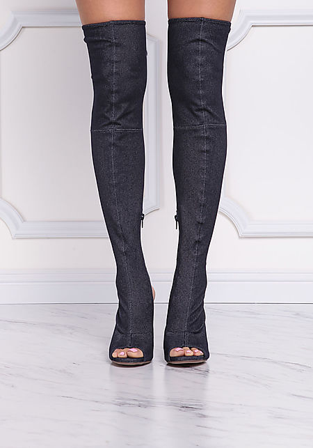 Dark Denim Open Toe Over The Knee Boots