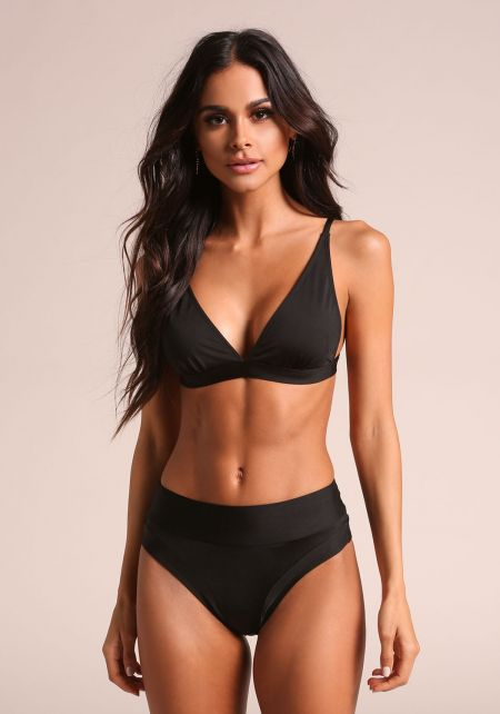 Black High Rise Swimsuit Bikini Bottoms