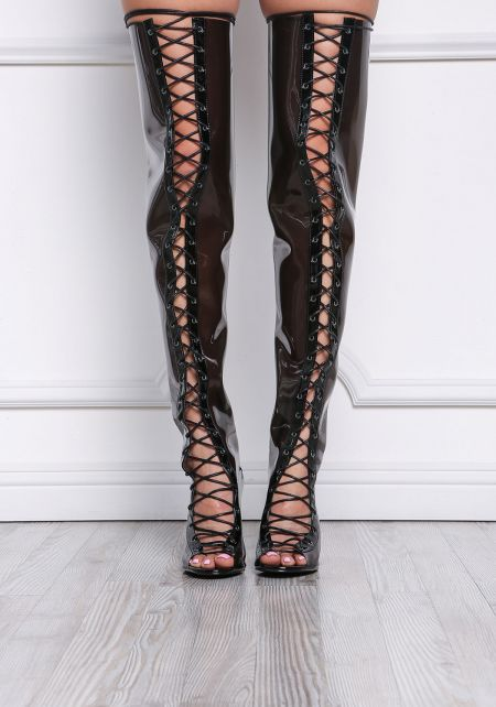 Black Perspex Lace Up Thigh High Boots