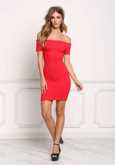 Red Smocked Off Shoulder Bodycon Dress
