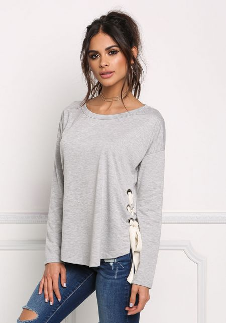 Heather Grey Side Lace Up Marled Top