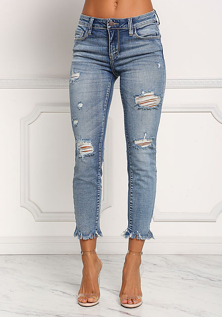 Denim Frayed Distressed Skinny Jeans