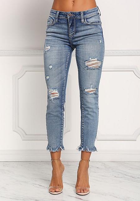Denim Frayed Distressed Skinny Jeans