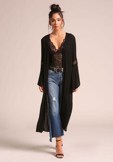 Black Crepe Bell Sleeve Longlined Kimono