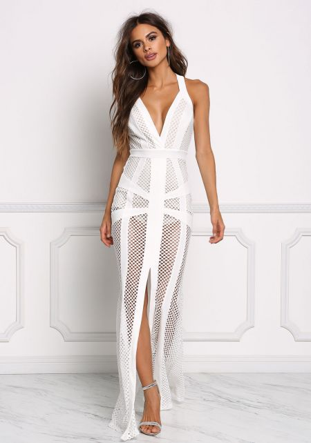 Off White Mesh Net Slit Maxi Gown
