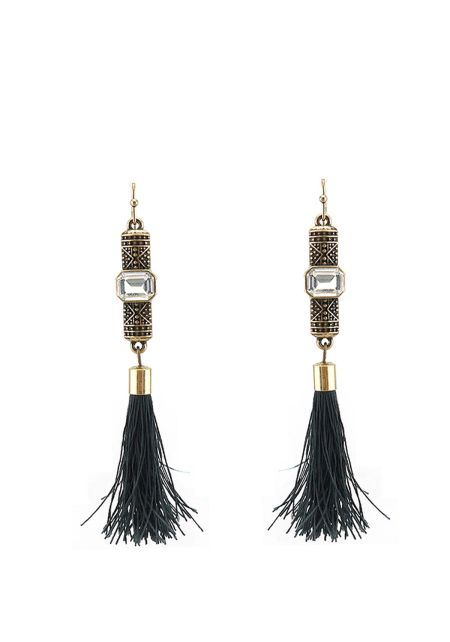 Black Engraved Tassel Earrings