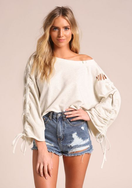 Oatmeal Drawstring Puff Sleeve Sweater Top