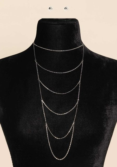 Silver Flat Chain Layered Necklace
