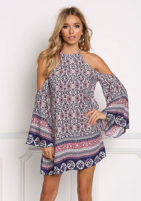 Multi Floral Cold Shoulder Trapeze Dress