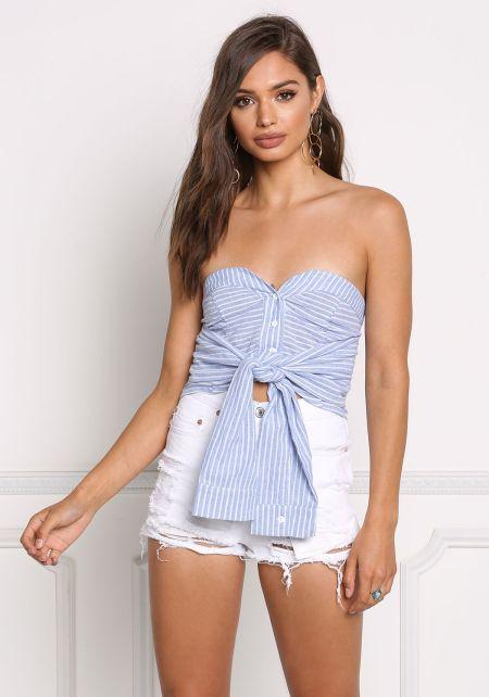 Blue Pinstripe Strapless Tied Sleeves Crop Top