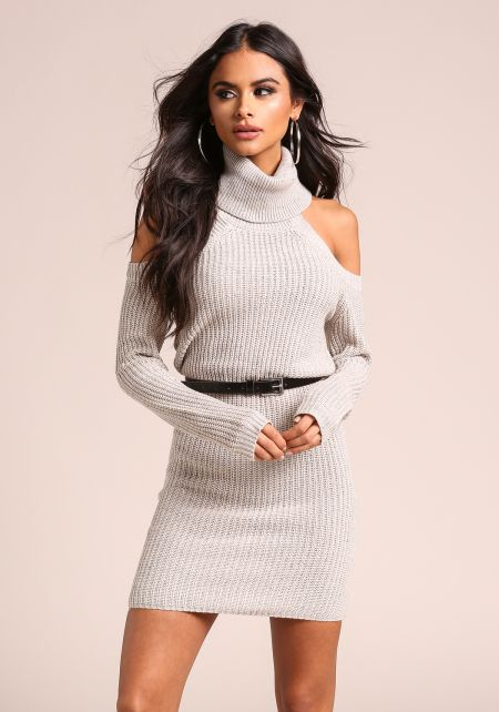Grey Turtleneck Speckled Thick Knit Sweater Dress