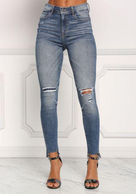 Denim Knee Slit High Rise Skinny Jeans