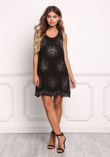 Black Beaded Lace Up Shift Dress