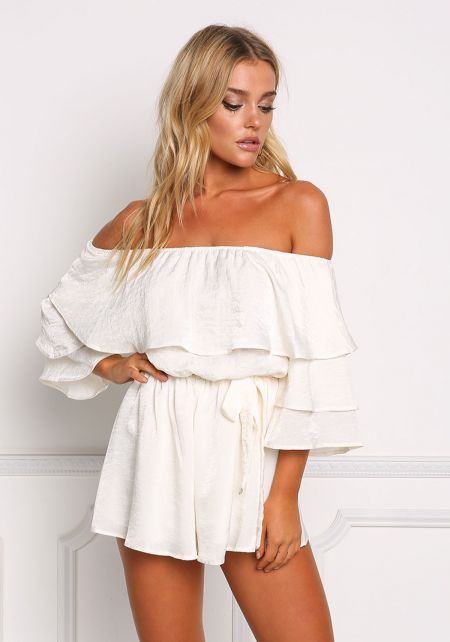 Ivory Lustrous Layered Off Shoulder Romper