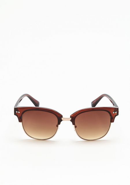 Brown Classic Clubmaster Sunglasses
