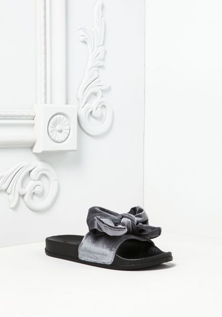 Grey Bow Velvet Slide Sandals