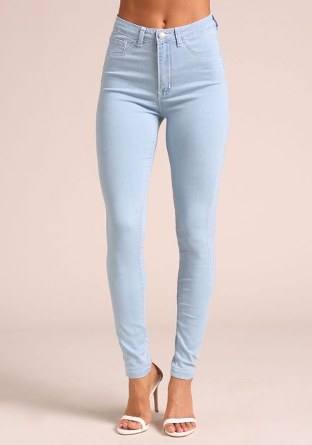 Light Denim High Rise Skinny Jeans