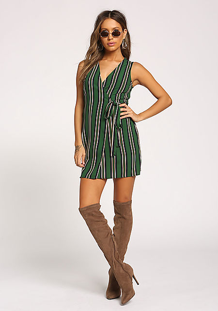 Hunter Green Stripe Waist Tie Wrap Dress