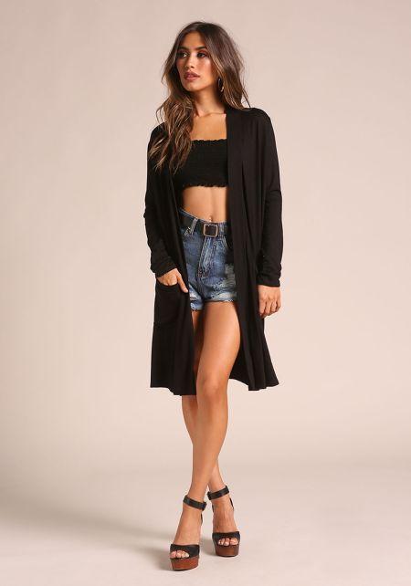 Black Longlined Knit Cardigan