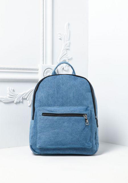 Light Denim Double Pocket Backpack