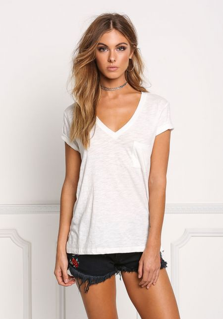 Off White Marled V Neck Pocket Tee