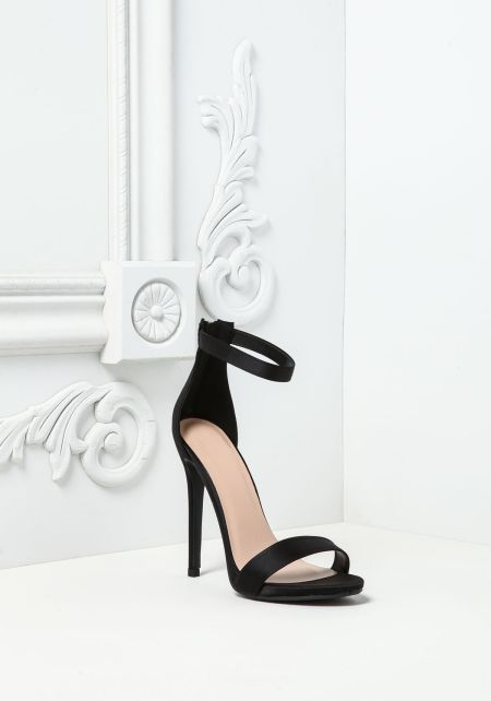 Black Satin Ankle Strap Heels